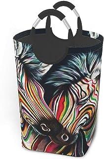 N\A Vetro Zebra Paniers de Rangement Panier à Linge Sale Flexible Sac Organisateur écologique Sac de tri Amovible Chariot ...