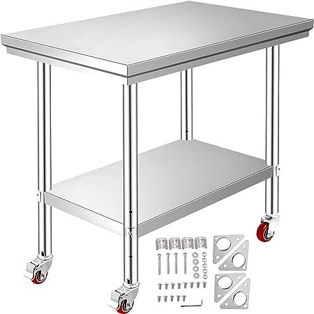 VEVOR Mesa de Preparación de Comida de Acero Inoxidable 30 x 60 x 80 cm Tabla de Cocina Profesional Capacidad de Carga 750 kg