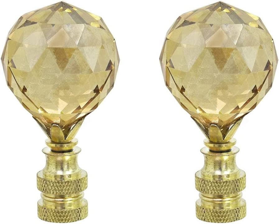 Regular discount Unknown1 2 Pack Amber Faceted Crystal Finial Brass Great interest Lamp in Plate