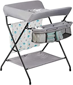 LAMXF Folding Baby Changing Table for Small Spaces  Changing Unit with Wheels Portable Nursery Infant Diaper Massage Station Dresser for Household Travel  Grey  0-3 Years Old