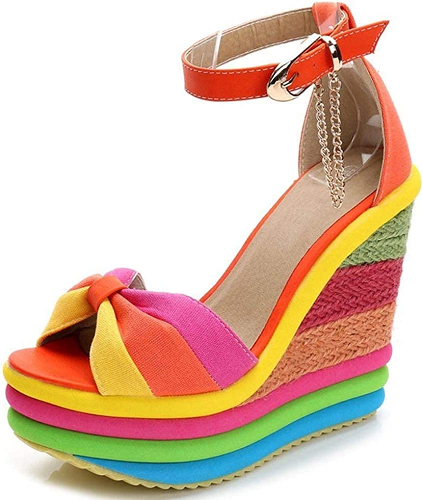 Platform Sandals for Women, Open Toe Ankle Strap High Heel Espadrilles Rainbow Wedge Sandals SIZE 7