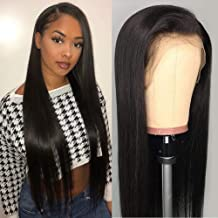 DACHIC 13x4 Lace Front Human Hair Wigs for Women Brazilian Straight Hair Wigs with Baby Hair Pre Plucked Natural Hairline (24 Inch, 130% Density)