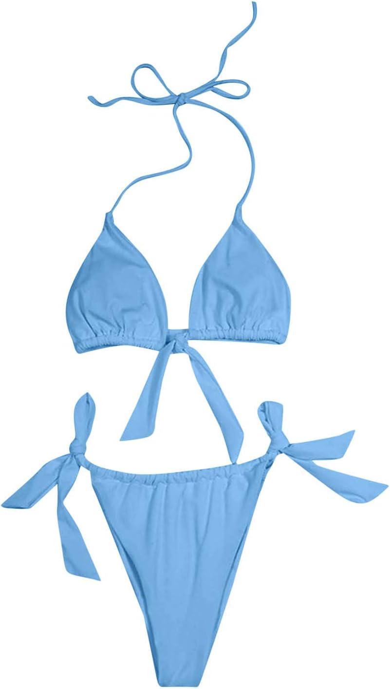 YAnGSale Women Two-Piece Swimsuit Solid Color Tube Top Sexy Strappy Bikini Bandage Beachwear Swimjupmsuit