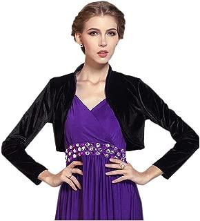 Women Long Sleeve Velvet Open Front Cardigan Cropped Bolero Shrug