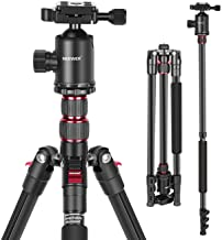 Neewer 77-Inch Tripod, Camera Tripod for DSLR, 2-in-1 Compact Aluminum Tripod Monopod with 360 Degree Ball Head, 2 Center ...