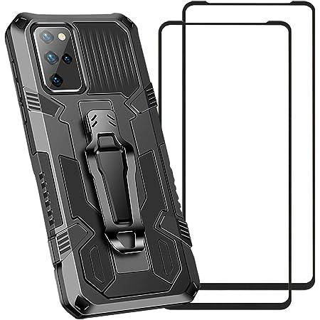 QWYJ Funda para Xiaomi Mi Poco M3 Case, con 2 Unidades Protector de Pantalla de Vidrio Templado, Armadura de Parachoques de Doble Capa, Soporte incorporado, Clip de cinturón de adsorción de metal, Anti-vibración protector TPU para Xiaomi Mi Poco M3 Case (Negro)