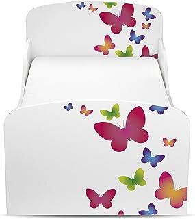comprar comparacion Leomark Cama Infantil Completa de Madera - Butterflies - Marco de Cama, Colchón, Somier, Blanco Muebles para Niños, Modern...
