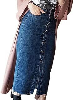 Womens Casual Button Front Split High Waist Hip Long Denim Skirt