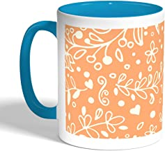 Decorative - tree paper Printed Coffee Mug, Turquoise Color (Ceramic)