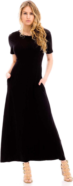 Malibu Days Women's Casual Short Sleeve Tie Back Detail Elastic Waist Long Maxi Dress
