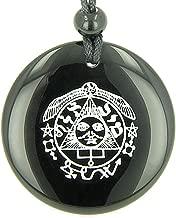 BestAmulets Success in Work and Wealth Talisman of Sun Black Agate Magic Pendant Necklace