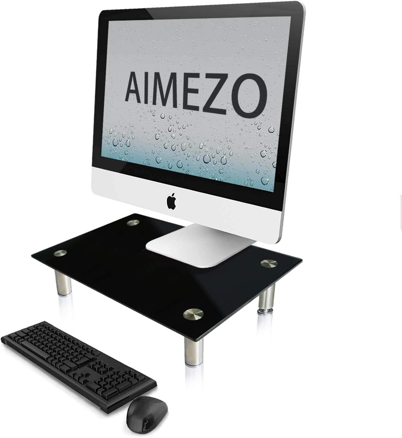 AIMEZO Clear Tempered Glass Computer Monitor Stand,3 Stage Height Adjustable ,Desktop Risers for Computer Monitors, Laptop, TV, Printer, Notebook and 3 inches Height Underneath Storage
