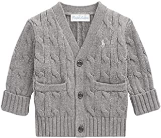 Baby Boy's Cable Knit Cardigan, 24 MOS, Heather Grey