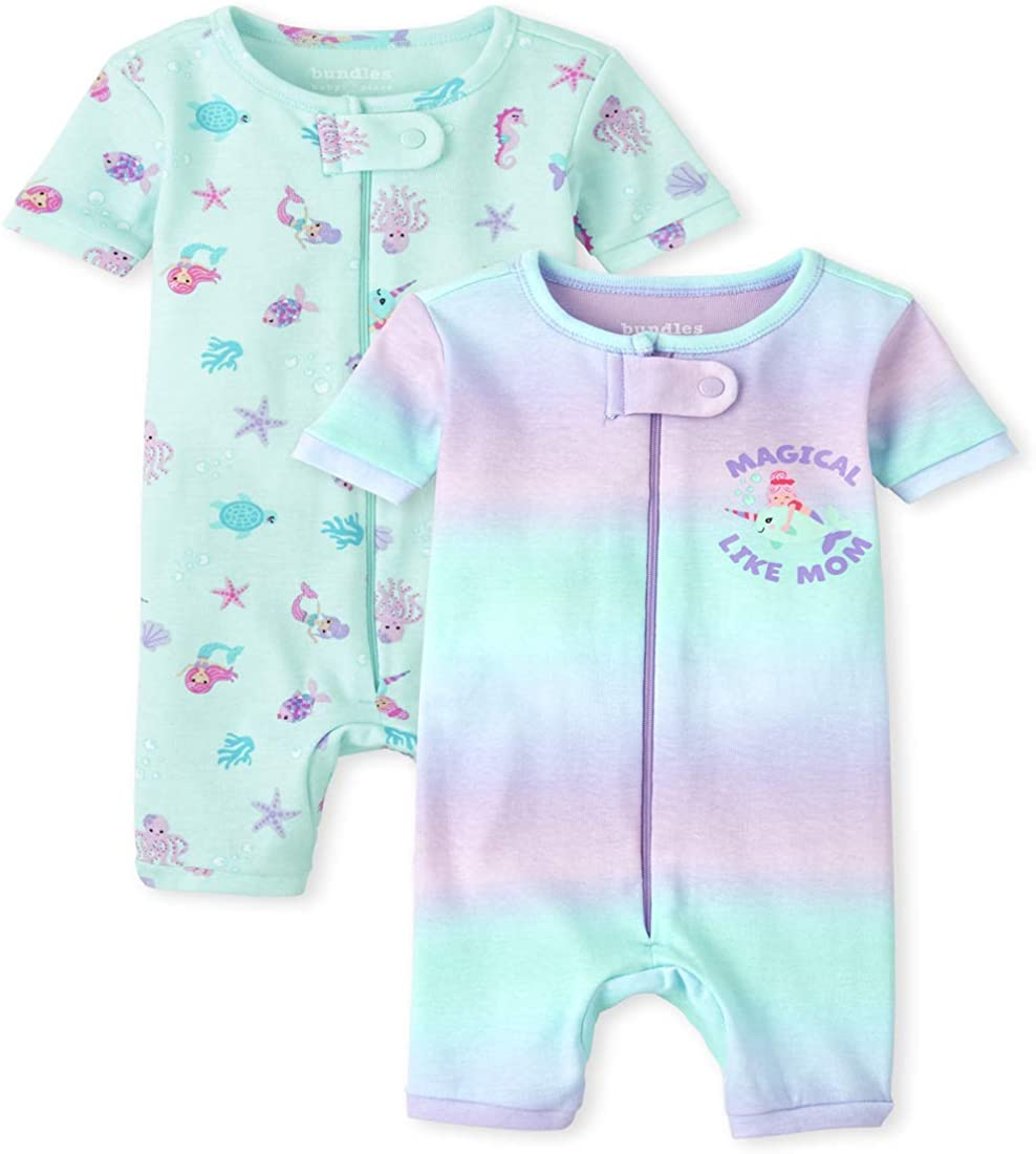 The Children's Place Baby And Toddler Girls Mermaid Snug Fit Cotton Cropped One Piece Pajamas 2-Pack
