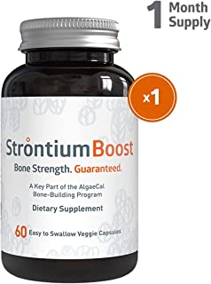 Strontium Boost - Natural Strontium Citrate Supplement - Scientifically Proven to Increase Bone Density in 6 Months - 60 Easy-to-Swallow Veggie Capsules - 1 Bottle