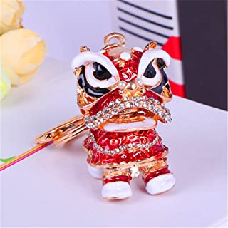 Axmerdal Animal Keychain Cute Chinese Traditional Dance Lion Car Handbag Pendant Key Chain for Women and Men Keyring Gift (red, Head to Front)
