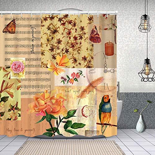 MAYUES Cortina de Ducha Impermeable Estilo Vintage Collage Rosas pinzón Mariposas Cortinas baño con Ganchos Lavable a Máquina 72x72 Inch
