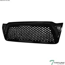 Topline Autopart Black Dragon Mesh Front Hood Bumper Grill Grille ABS For 05-11 Toyota Tacoma