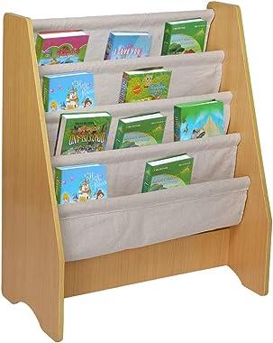 BONJIU Wooden 4-Layer Bookshelf Fabric Sling Bookcase Toy Picture Storage Shelf Book Storage Rack Kid's Bedroom Shelf Furniture Decoration Reading Nook Bookcase