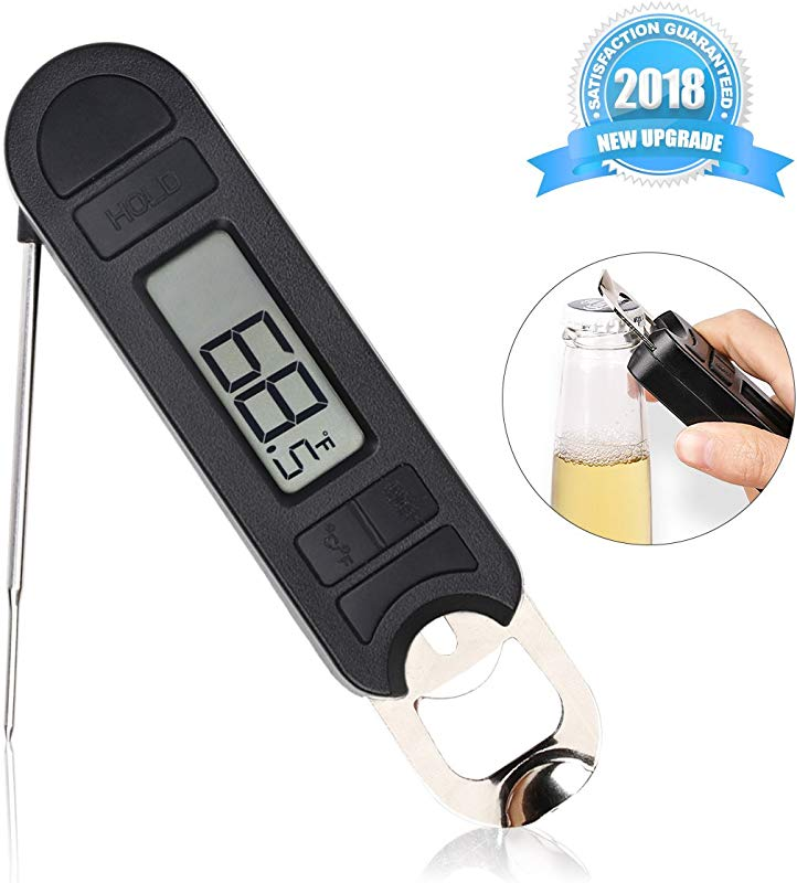 Digital Meat Thermometer Instant Read Folding Food Thermometer With Unique Bottle Opener Big LCD Display Durable Construction For Indoor Outdoor BBQ Grill Liquid Candy Cheese Chocolate Coffee