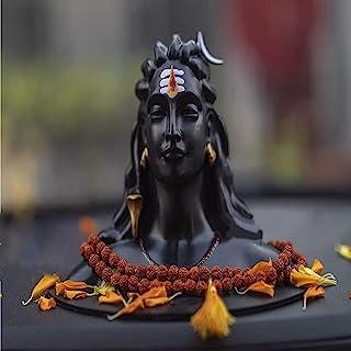 GS Grow n Shine Polystone Shine Adiyogi Shiva Statue with Rudraksh Mala, Standard, Black, 1 Piece
