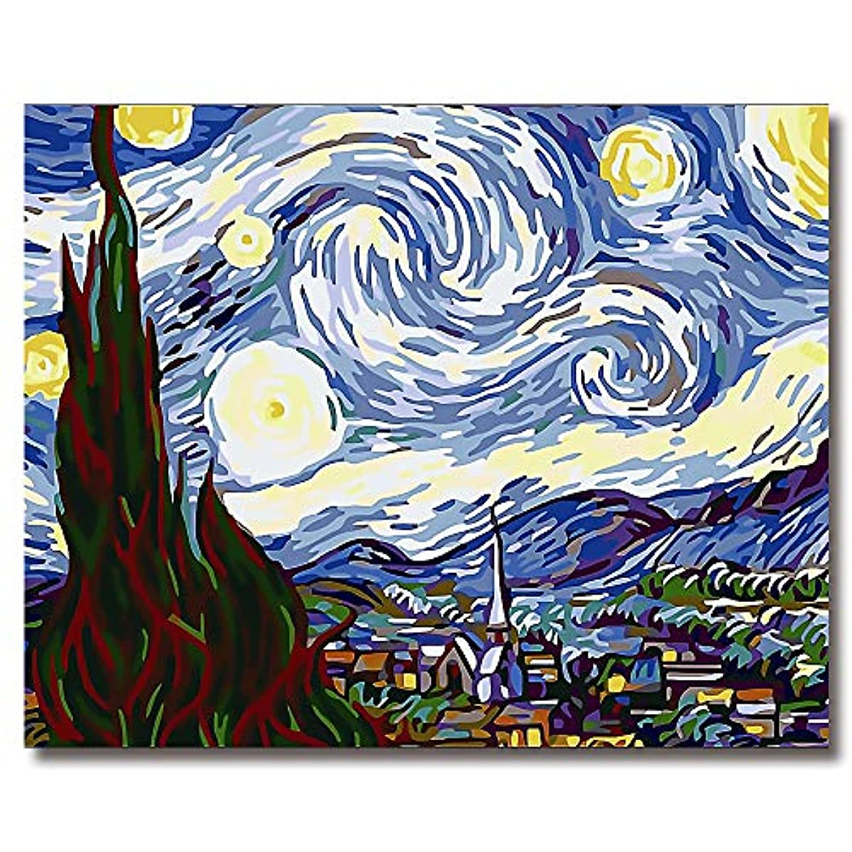 SHUAXIN Paint by Numbers for Adults-DIY Full Set of Assorted Color Oil Painting Kit and Brush Accessories-The Starry Night by Van Gogh 16