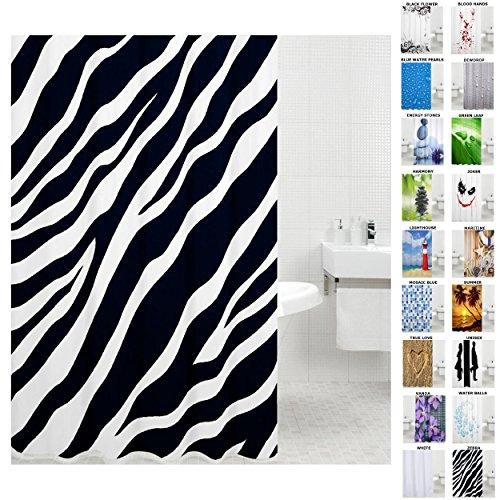 Sanilo Duschvorhang, viele schöne Duschvorhänge zur Auswahl, hochwertige Qualität, inkl. 12 Ringe, wasserdicht, Anti-Schimmel-Effekt (180 x 200 cm, Zebra)