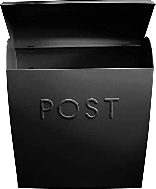 NACH Modern Wall Mounted Euro Post Galvanized Mailbox for Outside, 15 x 12 x 5.25 Inches, Black, UH 100BLK