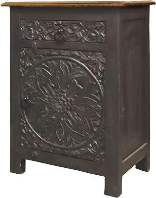 Mesita de noche de madera oriental Fares en negro y marrón ...