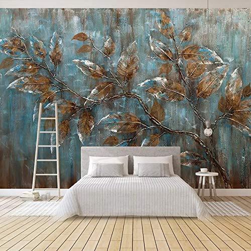 DZBHSCL 4D Behang muurschilderingen, creatieve Europese stijl bruin dode bladeren plant Hd kunstdruk grootte muurschilderij poster wallpaper voor woonkamer slaapkamer muur huis decoratie 100in×144in 250cm(H)×360cm(W)