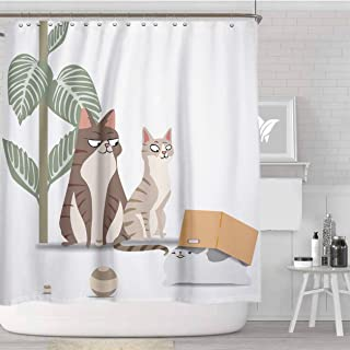 Newer Design Cat Funny Kitten Shower Curtain. Cats Curtain with 12 Hooks Fabric Water-Proof Durable Bathroom Decor(72×72 Inch)