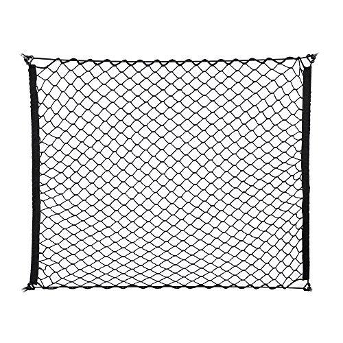 Adjustable Elastic Heavy Duty SUV Trunk Net - Universal Stretchable Cargo Net with Hooks | Organizer, Storage, Mesh, Nylon, Bungee | for Car, SUV, Van -Black