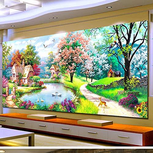 5d diy pintura diamante decoraciones caseras grandes sala de estar sueño de hadas cubo redondo de rubik, 300x110 cm taladro completo