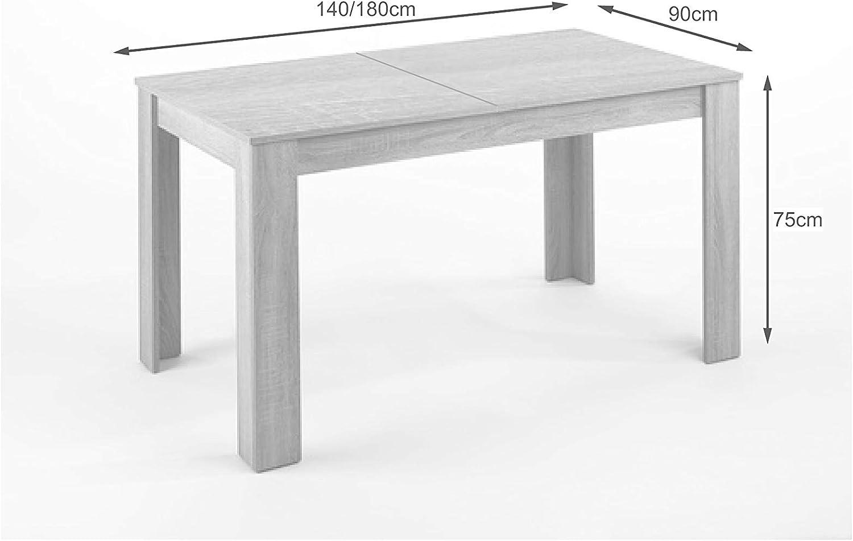 CAVADORE Tisch NICK / Moderner Esstisch 10 cm mit ausziehbarer ...