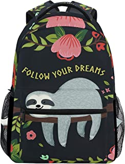 ZZKKO Funny Sloth on Tree Branches Follow Your Dreams Boys Girls School Computer Backpacks Book Bag Travel Hiking Camping Daypack