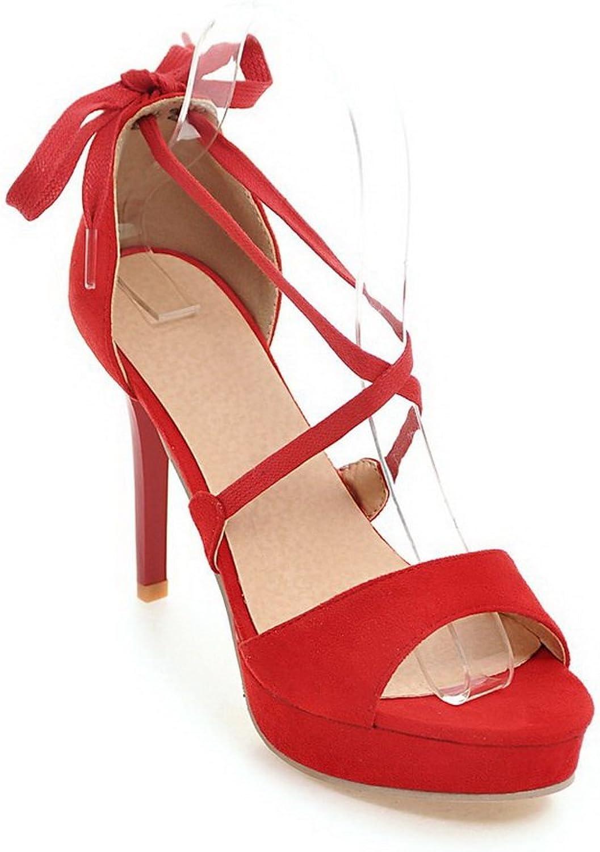 BalaMasa Womens Sandals High-Heel Huarache Urethane Sandals ASL04808