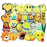 Honch Vinyl Yellow Aesthetic Stickers 70 Pcs Pack Cute Laptop Stickers Decals for Suitcase Laptop Ipad Car Luggage Water Bottle Helmet