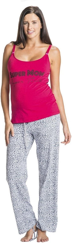 You  Lingerie pinktte Super Mom Super Tired Maternity & Nursing Pajama Set