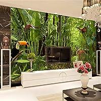 Empty 写真の壁紙現代の熱帯雨林の壁画リビングルームテレビソファレストランカフェ背景壁の装飾防水キャンバス-450x300CM
