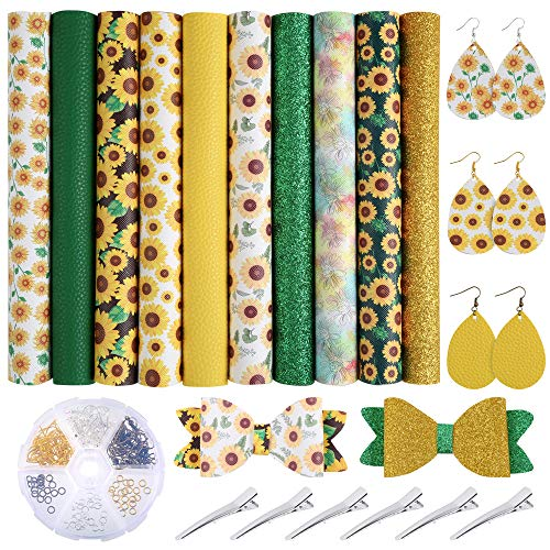 Caydo 10 Pieces Sunflowers Printed Faux Leather Sheet Include 3 Kinds of Leather Fabric with Earring Hooks, Hair Clips for Making Hair Bows and Earrings (8.2 x 6.3 inch)