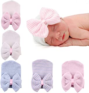 Upeilxd Newborn Hospital Hat Infant Baby Hat Caps with Bow Soft Cute Nursery Beanie Hat