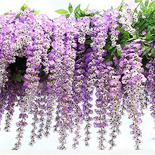 The Fellie 12 PACK Artificial Wisteria Hanging Garland Flowers Arts Ceremony Home Wedding Christmas Decoration (Purple)
