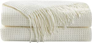 Hansleep Throw Blanket for Couch Sofa Bed Chairs, Soft Fuzzy Knit Blanket with Decorative Tassels (White, 50 x 60 Inches)