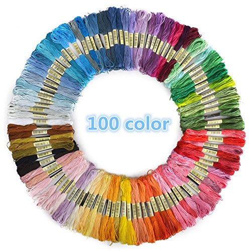 Jia Jia Trade 8M Multi-color Soft Cotton Cross Stitch Embroidery Threads Floss Sewing Threads (Random Color) (100 pcs)