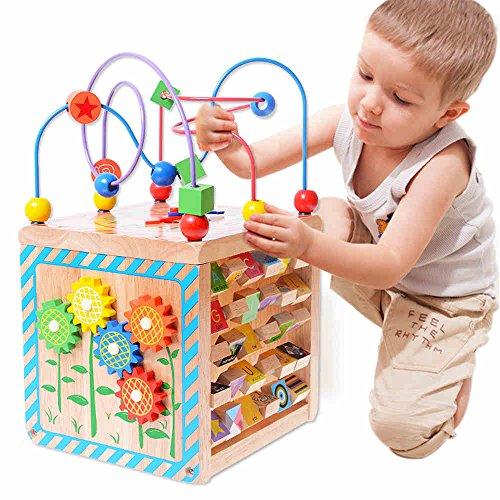 Jouets FEI pour Enfants Autour de la boîte de Perles Puzzles Perles Multi-Fonction Bois Tetrahedron Cadeau Début Éducation