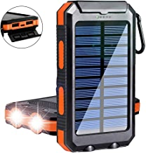 $23 Get Solar Charger,Yelomin 20000mAh Portable Outdoor Waterproof Mobile Power Bank,Camping External Backup Battery Pack Dual USB 5V 1A/2A Output 2 Led Light Flashlight with Compass for Tablet iPhone Android