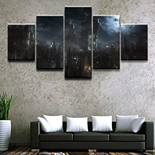 WLHWLH Canvas Painting Wall Art Abstract Decor Pictures 5 Panel Game Bloodborne Building for Modern Living Room Prints Oil Poster-Framed