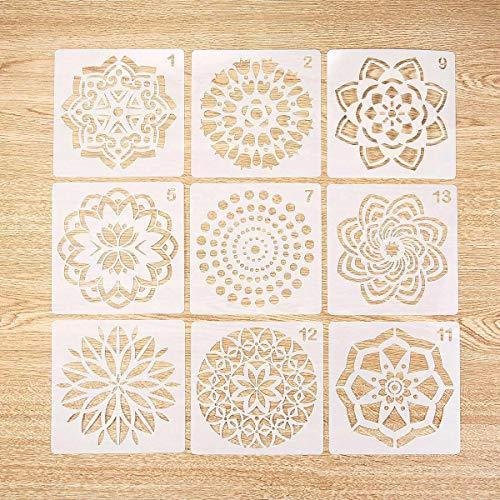 Volwco 9 Stück Mandala Dotting Schablonen Rock Punktierung Werkzeuge ? Verschiedene Muster, Punktmalvorlagen, Kunstwerkzeuge Für DIY Steine, Wandkunst, Leinwand, Holzmöbel Malerei
