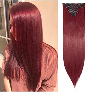 Ombre Clip in Hair Extensions Balayage Two Tones Highlighted 8PCS Clip on Synthetic Hairpiece Full Head Long Straight Wavy Hair for Women- 26