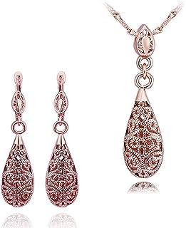 NYKKOLA stile Vintage, placcato in oro rosa 18 k, collana e orecchini con pendenti a goccia, in metallo tibetano Jewelry Sets